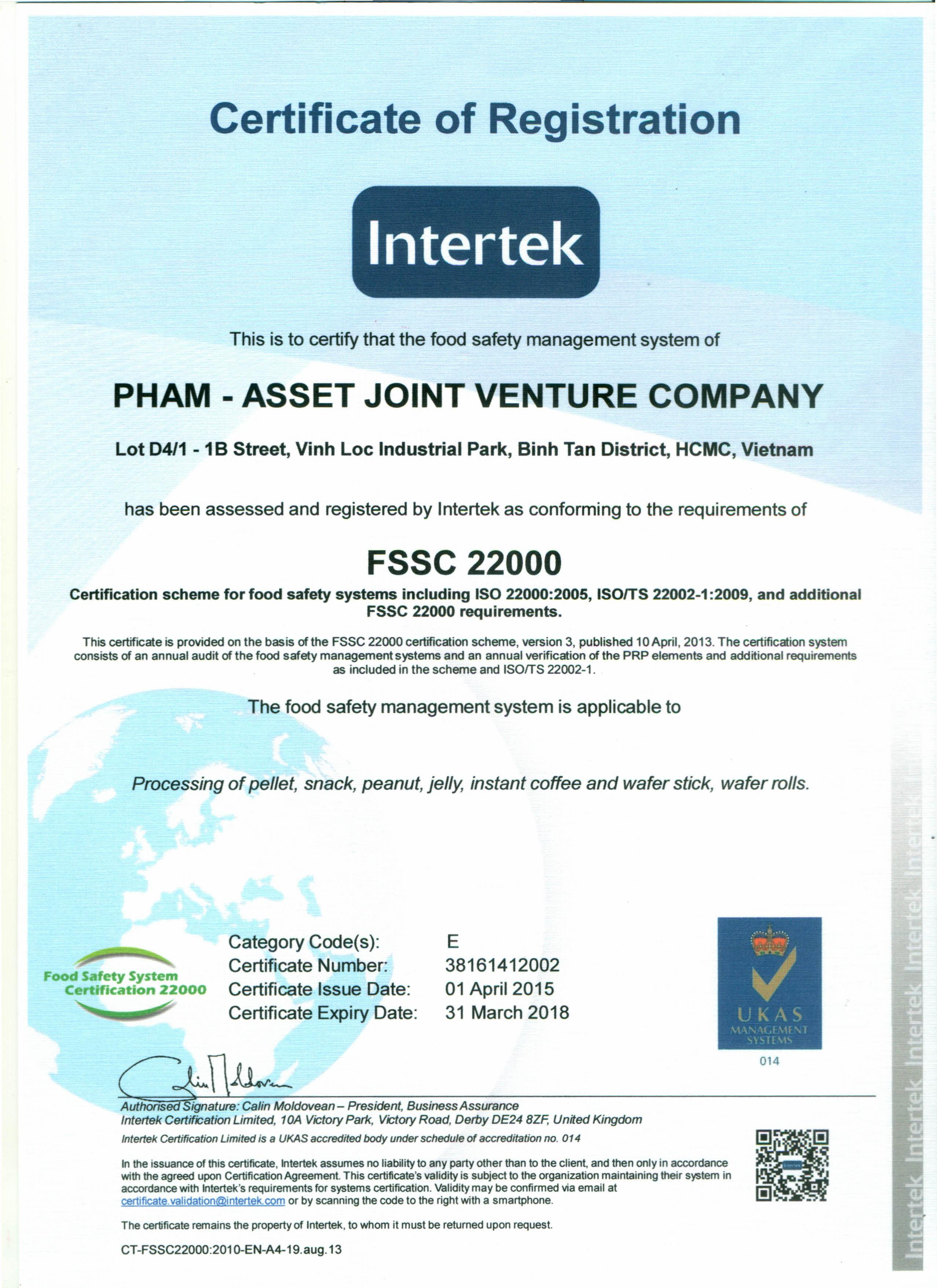 Awards And Certifications Pham Asset